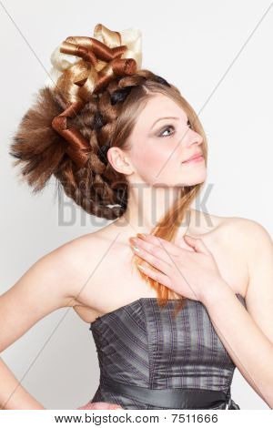 Attractive Young Woman With Hairstyle On White Background