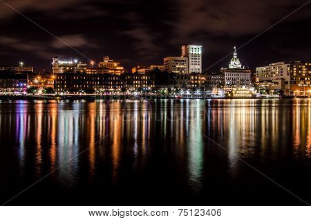 Savannah Skyline at Night