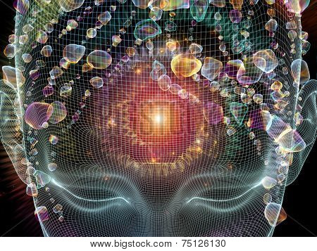 Frame of Mind series. Composition of human face wire-frame and fractal elements on the subject of mind reason thought mental powers and mystic consciousness poster