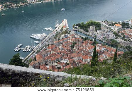 A Sight Of Old Town Of Kotor And Boka Kotorska Bay