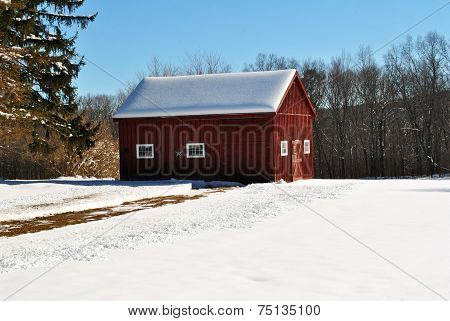 Snowy Driveway In A Scenic Winter Scene