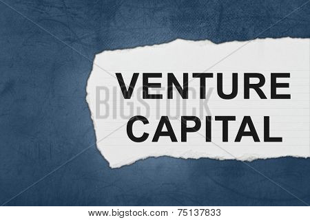 venture capital with white paper tears on blue texture poster