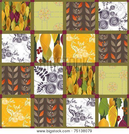 Patchwork retro autumn floral pattern texture background poster
