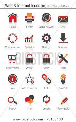 Web & Internet Icons Set 01 (red, Orange And Black)