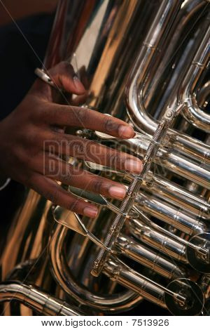 African-american Man Plays The Tuba