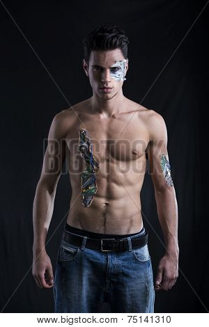 Close Up Attractive Bare Muscled Man With Robotic Skin Art