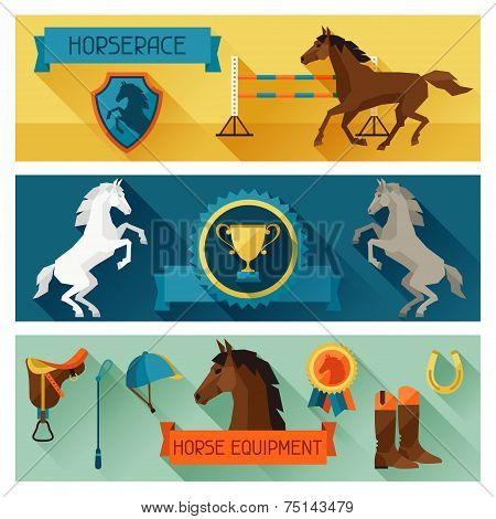Horizontal banners with horse equipment in flat style.