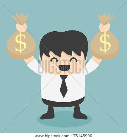 Vector Businessman Holds Bags Money