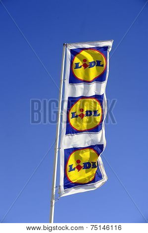 Flags In The Colors Of Lidl Supermarket