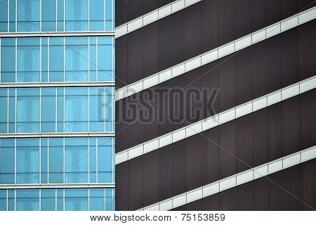 blue and brown glass window