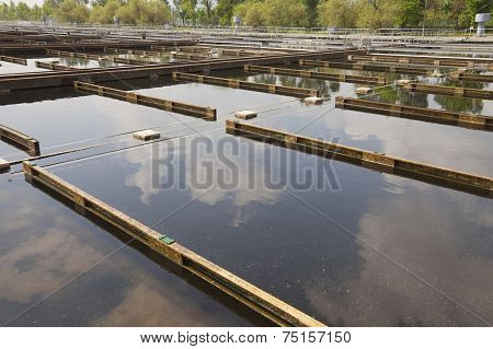 Wastewater treatment plant aerating basin poster