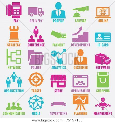 Set of seo and internet service icons - vector icons poster