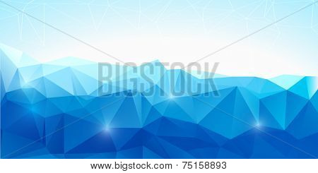 Blue abstract polygonal background - vector illustration