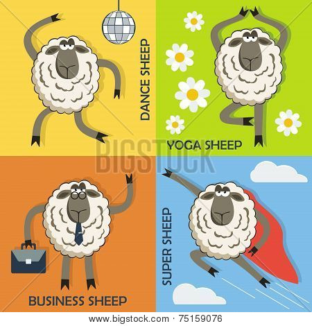 Sheep colorful cartoon concepts set. Vector.
