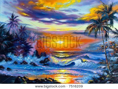 Beautiful Sea Evening Landscape