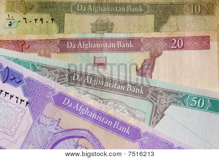 Afghanistan Banknote background English