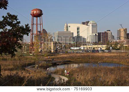 COLUMBUS, OHIO-OCTOBER 25, 2014:  The popular Scioto Audubon Park offers a unique view of the city of Columbus.