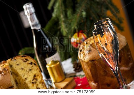 Wine Glasses And Panettone Italian Typical Christmas Cake