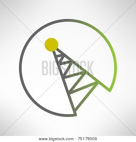 Mobile signal tower station made in modern flat design. Telecommunication icon. Vector illustration