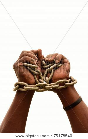 African black hands in chains on white