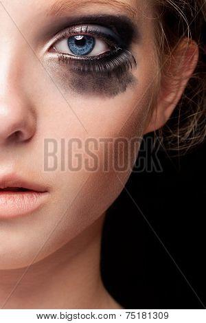 Close Up Blue Eye And Crying Make Up