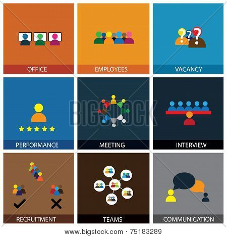 Flat Design Of Office People Vector Icons