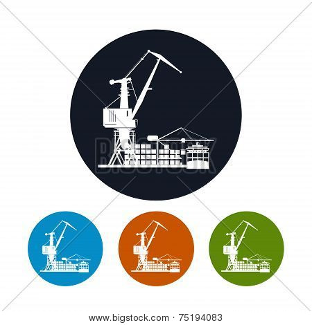 Cargo container ship with cargo crane  icon,logistics icon,  vector illustration