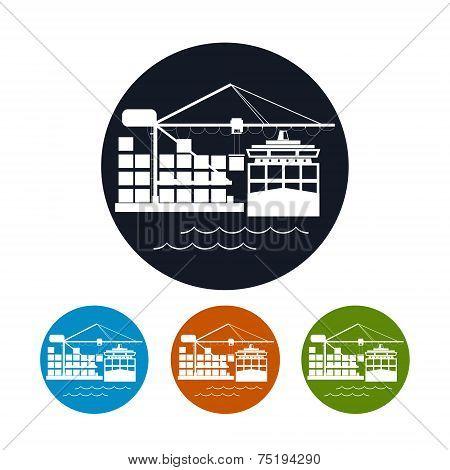Cargo container ship icon,logistics icon, vector illustration