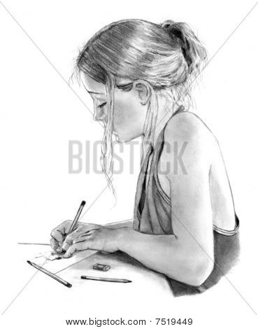 Pencil Drawing of Young Girl Drawing, Writing