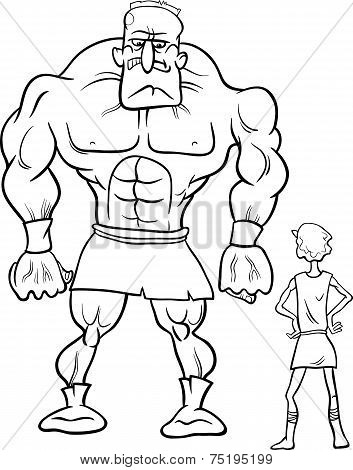 David And Goliath Cartoon Coloring Book