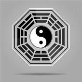 Bagua Yin Yang symbol on glass material. poster