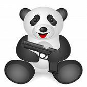 Panda pistol on a white background. Vector illustration. poster