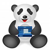 Panda register on a white background. Vector illustration. poster