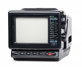 Vintage small portable color TV set with radio on white background poster