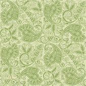 Seamless (easy to repeat) paisley pattern background (swatch, wallpaper, tile, print, texture), tan and green poster