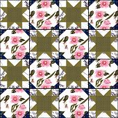 Patchwork bright abstract floral pattern texture geometric background poster