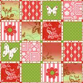 Patchwork retro polka dot floral texture pattern bight colors background poster