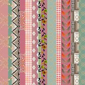 Patchwork retro geometrical floral pattern texture background poster