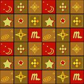 Patchwork seamless retro geometric ornamental pattern texture background poster