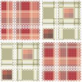 Abstract seamless lace checkered fabric plaid pattern background poster