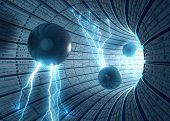 Inside an abstract tunnel with electric spheres. Concept of energy technology and science. poster