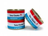 Cans of Tuna isolated against a white background poster