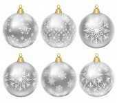 Set of silver baubles with ornament isolated on white poster