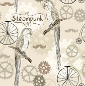 drawn illustration of an  parrot in style steampunk poster