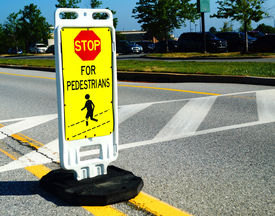 Pedestrian Crossing Stop Sign