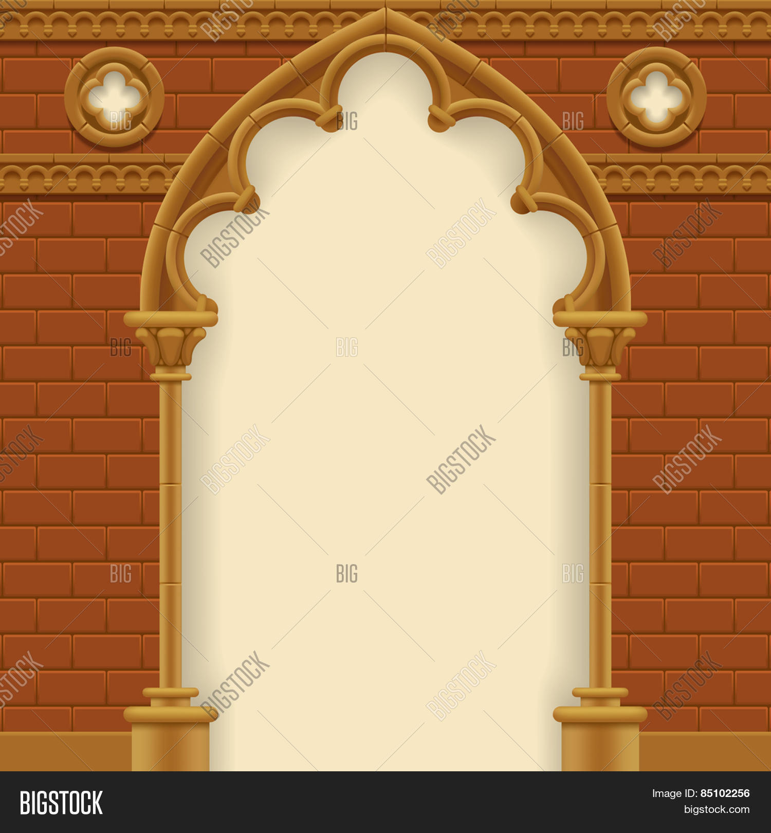 Stone Gothic Arch And Wall Antique Architecture Frame Vector Illustration