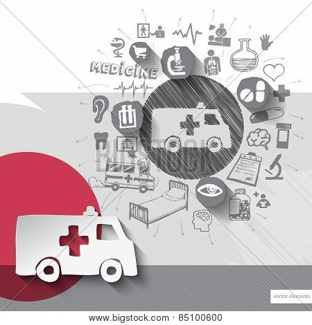 Hand drawn ambulance car icons with icons background
