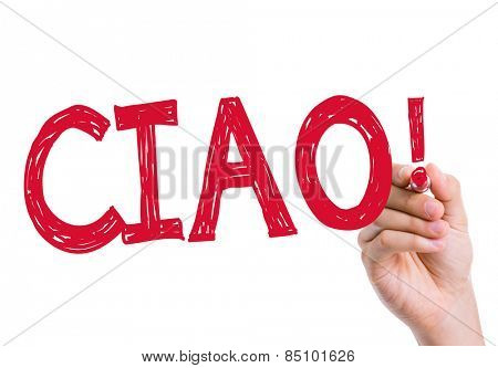 Ciao written on the wipe board