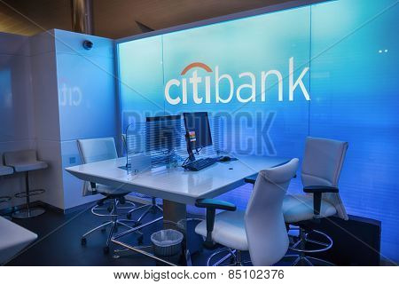 DUBAI, UAE - APRIL 18, 2014: Citibank meeting room in Dubai International Airport. Citibank is the consumer division of financial services multinational Citigroup.