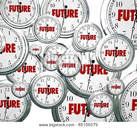 Future word on clocks moving forward toward tomorrow or next time advancing